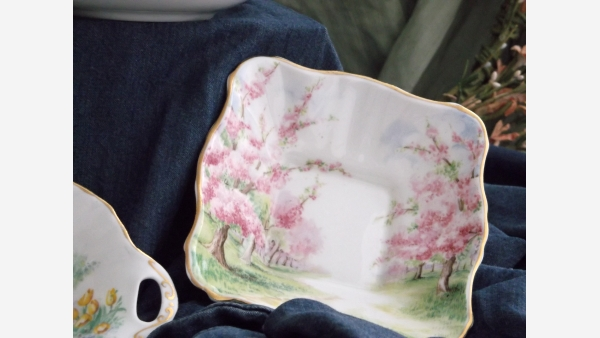 "Royal Albert Crown China Square Dish - ""Blossom"""