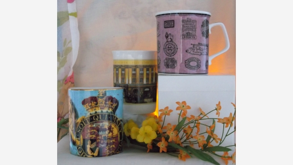 Gift-Quality Fine China Coffee Mugs - Set of Three - Free Shipping!