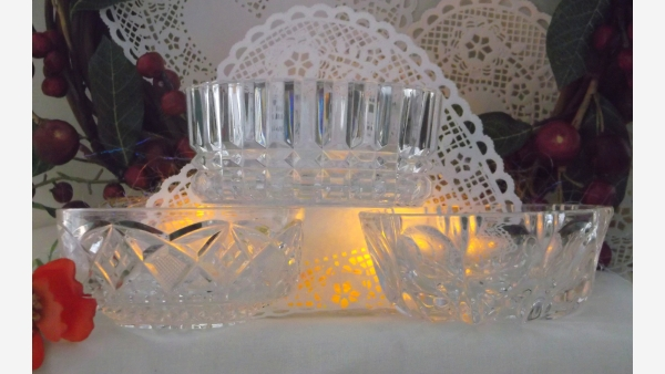 Set of Three Unique-Pattern Crystal Serving Bowls