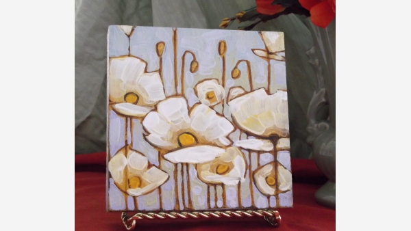 Original Oil Painting on Wood Box Frame