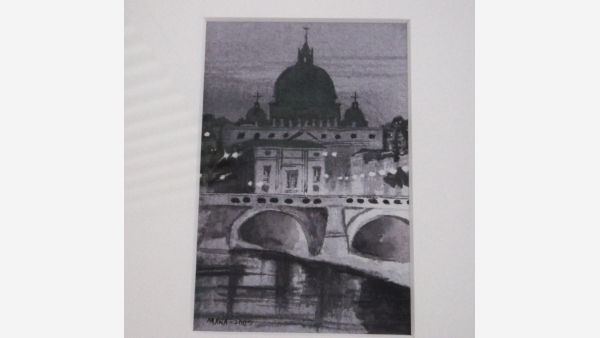 Original Watercolor - European Bridge