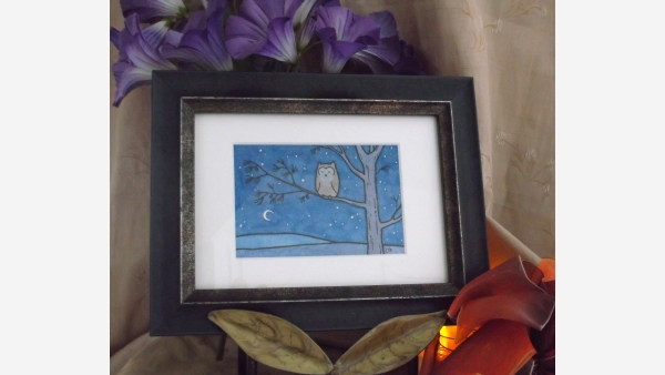 home-treasures.com - Original Watercolor - Owl and Moon - Free Shipping!