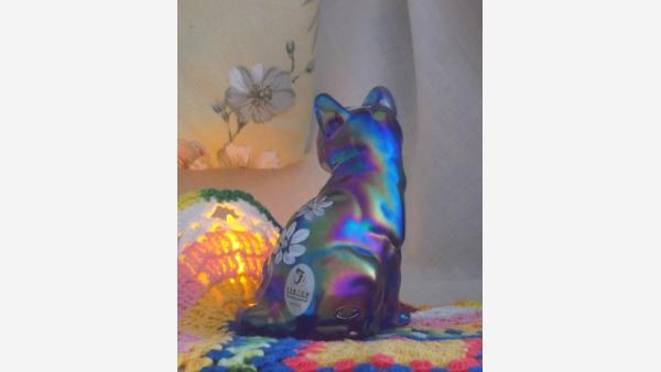"Fenton ""Sitting Pretty Cat"" Glass Figurine - Hand-painted"