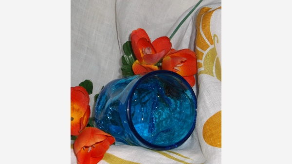 Pair Mid-Century Crackled-Glass Blue Tumblers - Free Shipping!