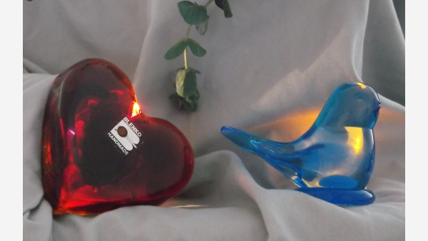 Vintage Smooth-Glass Collectibles - Red Heart & Bluebird