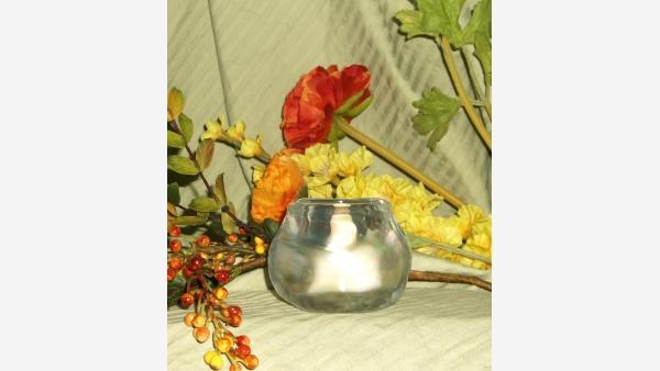 Hefty Opalescent-Glass Votive/Tea-light Holder