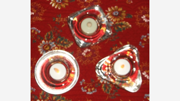 Set of Three Glass Votive-holders - Triangle, Square, Round