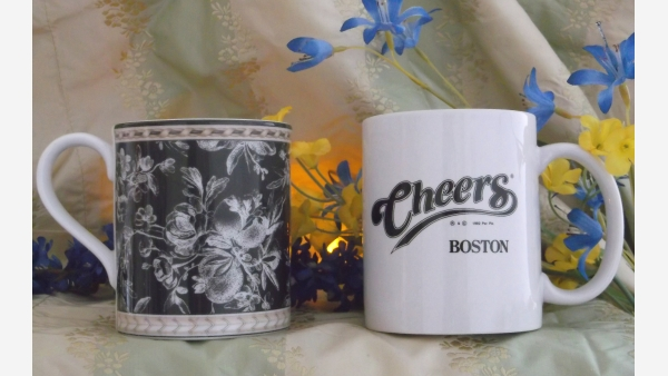 """Pair Gift-Quality Coffee Mugs - Rich Paisley and """"Cheers"""" - Free Shipping!"""