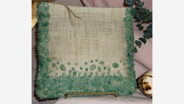 Beaded Linen Clutch - Jade-like Beads