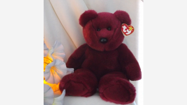 Teddy the Beanie Baby Stuffed Bear - Rare Cranberry Color - Free Shipping!