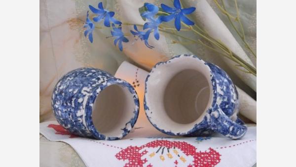 Indigo-blue Spongeware Glazed Sugar & Creamer - Free Shipping!