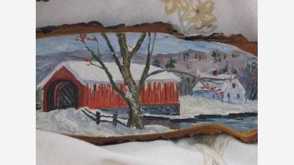 Rustic Folk-Art Painted Vermont Wood-Slice