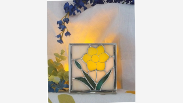 Stained-Glass Yellow-Flower Votive Holder - Free Shipping!