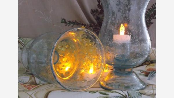 home-treasures.com - Pair Glass Hurricane Lamps - Free Shipping!