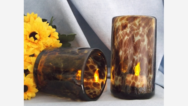 Mid-Cent. Tortoise-Shell Glass Tumblers - Hefty and Elegant! - Free Shipping!