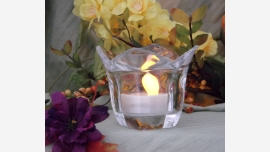 """Pair Smooth Crystal """"Tulip""""-shaped Votive Holders"""