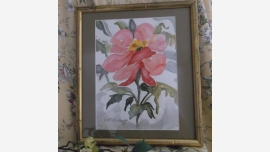 Original Floral Watercolor in Quality Custom Framing - Free Shipping!