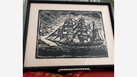 Framed Wood-Cut Clipper Ship - Signed by Artist