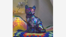 "Fenton ""Sitting Pretty Cat"" Glass Figurine - Hand-painted"