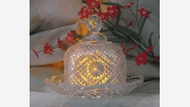 Pressed Glass Cheese Dome and Plate - Avon