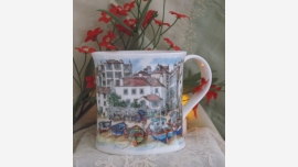 Pair British Coffee Mugs - Cottage Scenes - Free Shipping!