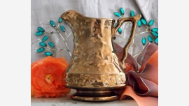 home-treasures.com - Copper-Colored Glazed Ewer - England