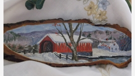 Rustic Folk-Art Painted Vermont Wood-Slice