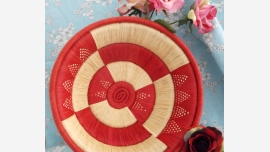 home-treasures.com - Artisan Red/Cream Basket - Free Shipping!