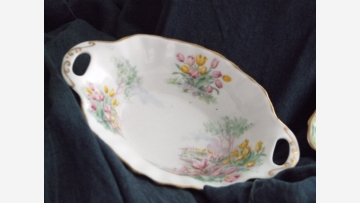 "English China - Oval Dish in ""Tulip"" Theme - Free Shipping!"