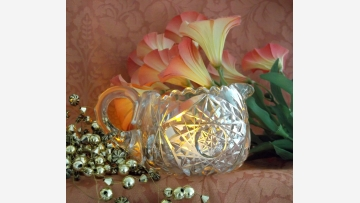 Weighty Cut-Crystal Creamer --- Sparkling as a Votive! --- Free Shipping!