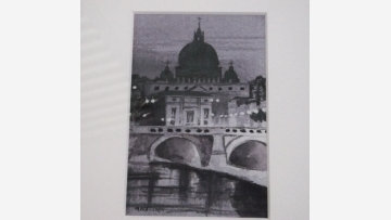 Evocative Watercolor - St. Peter's Basilica - Free Shipping!