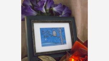 Original Watercolor - Peaceful Night Sky, Owl in Tree - Free Shipping!