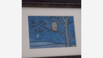 Original Watercolor - Peaceful Night Sky, Owl in Tree - Free Shipping!