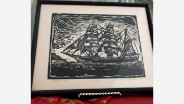 "Handsome Wood-Block Print - Cutter Ship ""The Eagle"" - Free Shipping!"