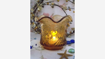 "Amber-Glass Sugar or Votive - ""Cherry Wreath"" Pattern - Free Shipping!"