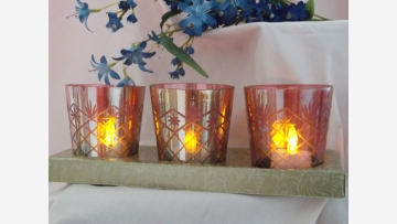 Rose-Tone Votives Set in Original Box - Free Shipping!