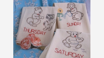 Cottage Towels with Charming Hand-Stitched Designs - Free Shipping!