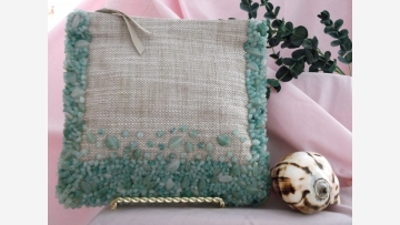 Bead and Linen Clutch - Jade-like Beading on Linen-weave Purse - Free Shipping!