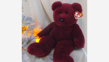 """""""Teddy"""" Beanie Baby Bear - Rare Cranberry Color - Free Shipping!"""