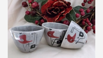 Atomic-Age Pottery Cups (3) - Modernist Treasures! - Free Shipping!