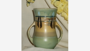 Azure Pottery in Arts-and-Crafts Style - Made in Japan - Free Shipping!