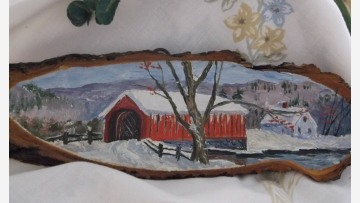 Vtg. 1955 Wood-Slice Painting - Vermont Covered Bridge - Free Shipping!