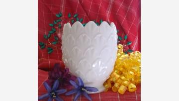 "Milk-Glass Vase - ""Pineapple"" Pattern - Free Shipping!"