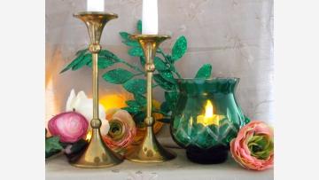 Czech Bohemian Glass Votive and Brass Candlesticks - Free Shipping!