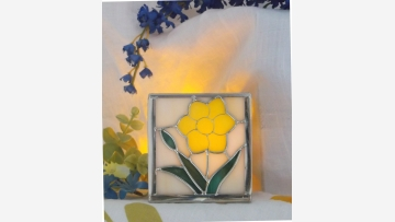 Stained-Glass Votive - Yellow Flower - A Pretty Gift! - Free Shipping!