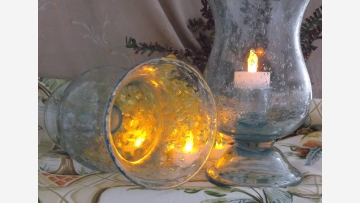 Glass Hurricane Lamps -- Seaside Style -- Free Shipping!