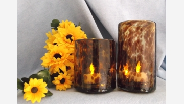 Tortoise-Shell Glass Tumblers - Mid-Century - Free Shipping!
