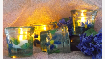 """Sea-Glass"" Votives - Set of Four - Free Shipping!"